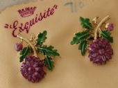 1960s Chrysanthemum Earrings Signed Exquisite - On Original Card (SOLD)